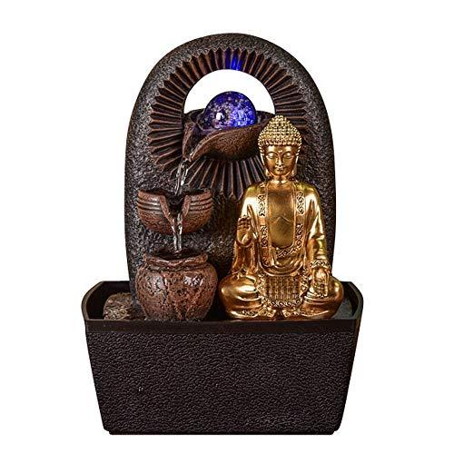 Zen Light - Fontaine d'Intérieur Bouddha Bhava - Déco Zen et Feng Shui - Cadeau Original - Eclairage LED Multocolore - Ecoulement sur 3 Niveaux - L 20 x l 15 x H 25 cm Marron Taille Unique