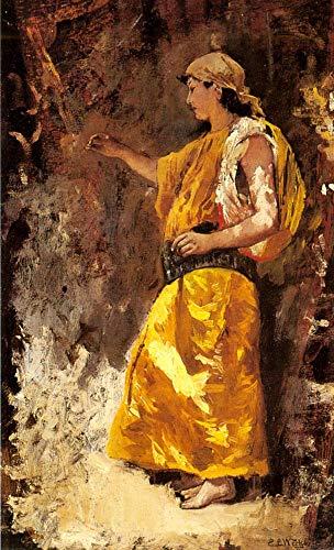 berühmte Gemälde auf Leinwand von akademischen Malern - 40€-1500€ Handgefertigte Ölgemälde - Standing Araber Woman Edwin Lord Weeks - Kunst Bilder -Maße -04