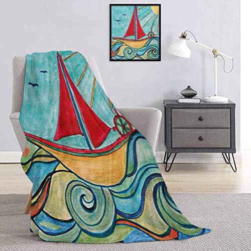 Art Bedding - Manta de franela para bebé (80 x 60 cm), diseño de olas de océano, color verde azulado y rojo
