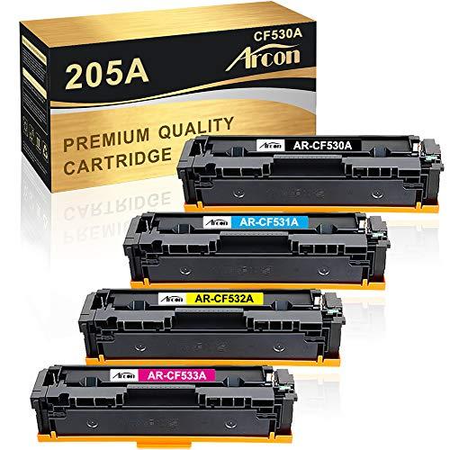 Arcon Cartuccia toner Compatibile In sostituzione di HP CF530A CF531A CF532A CF533A 205A Color Laserjet Pro MFP M181fw M180n M180nw M154nw M154a M180n (Nero,Ciano,Giallo,Magenta,confezione da 4)