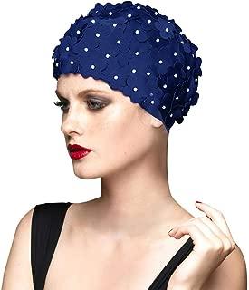 BALNEAIRE Flowers Swim Cap Women Pearl Floral Swim Cap Hat Long Hair Polyester Swimming Caps Not Waterproof