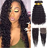 BLISSHAIR Cheveux avec fermeture Naturel Cheveux Tissage Bresilien en lot avec Closure Humains Hair Brésiliens Kinky Curl Meches Perruque 14 14 14 + 12 INCH