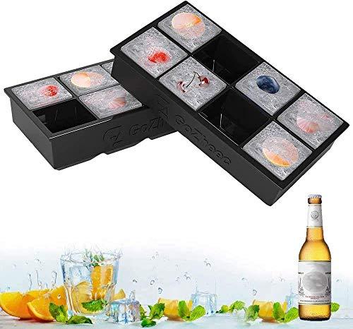 GoZheec Grandi vassoi per cubetti di ghiaccio in silicone per whisky, cocktail e vino Confezione da 2