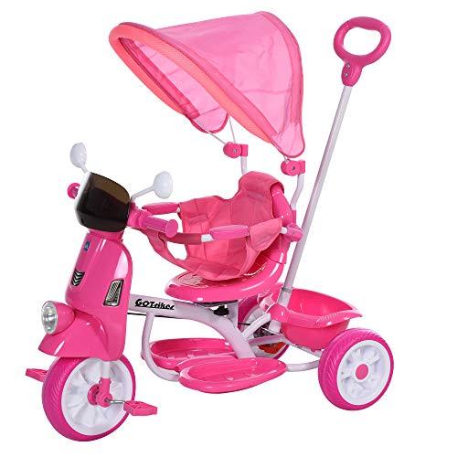 HOMCOM Tricycle Enfants évolutif Canne, Pare-Soleil Pliable Amovible Effets Lumineux sonores métal Blanc PP Rose