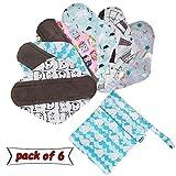 Teamoy 6 Stück Slipeinlagen Waschbar, Wiederverwendbare Binden, Baumwolle Menstruation Pads mit...