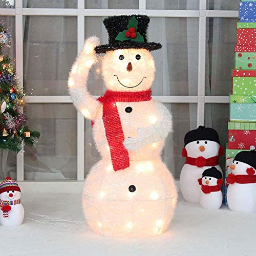 Best Lights Decorations Christmas LED Glitter Snowman Figure Light Up Scarf Hat Warm White Light Metal Iron Frame Woolen for Indoor Outdoor Gift (Color : 100cm)
