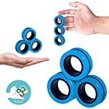 artfone Colorful Unzip Game Toy - Stress Relief Reducer Spin for Adults Children EDC ADHD, Magnetic Rings Toys - Magnetic Bracelet Ring Unzip Toy Magical Ring Props Tools (Blue)