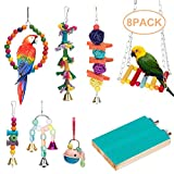 Bird Parrot Toys, Bird Swing Hanging Toy, Bird Cage Toys Hammock Bell Swing Ladder Perch Chewing Toys for Parrots, Parakeets Cockatiels, Conures, Macaws, Love Birds, Finches