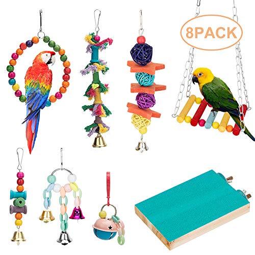 Juguete colgante para pájaros con forma de loro, juguete para colgar, jaula para pájaros, hamaca, campana, perca, juguetes para masticar loros, periquitos, cacatúas, conuras, guacamayos, pájaros, pinzones