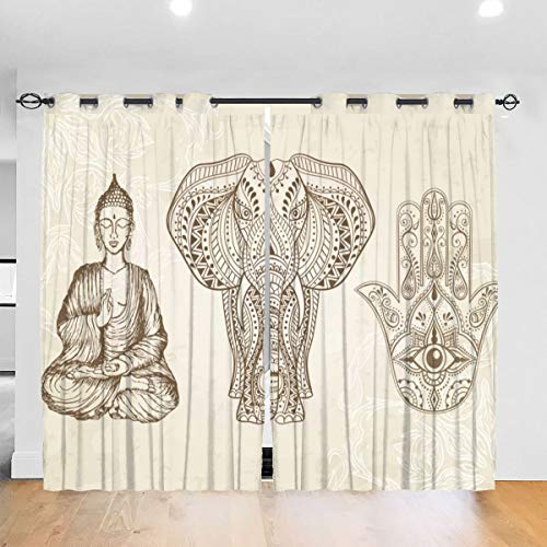 All Seeing Eye Elephant and Sitting Buddha Curtains Decorative Thick Darkening Drapes, Autumn Window Coverings for Bedroom Living Room Bathroom Or Room Divider, Set of 2 Panels …