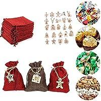 クリスマスアドベントカレンダー24日DIYハンギングサックキャンディー再利用可能なカウントダウンバッグステッカークリスマスデコレーションY4A52021