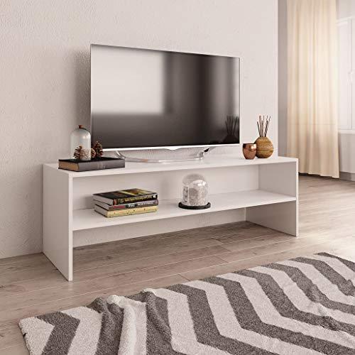 UnfadeMemory Mueble para TV,Mesa para TV,Estante de TV para Salón Dormitorio,Estilo Clásico,con Compartimento Abierto,Madera Aglomerada (Blanco, 120x40x40cm)