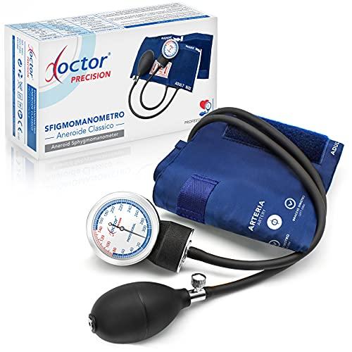 AIESI® Esfigmomanometro Manual Profesional Aneroide Tensiómetro modelo clasico con brazalete de nylon para adultos DOCTOR PRECISION # Garantía 24 meses