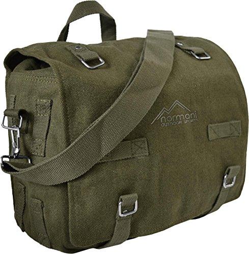 normani Große Bundeswehr Kampftasche Umhängetasche aus robustem Canvas-Material Farbe Oliv
