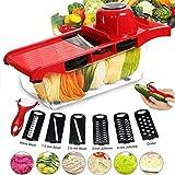 DDYX2020 - Tagliapasta multifunzione 7 in 1 Mandolina da cucina, Grattugie da cucina per affettare e Frese manuali, Utensili da cucina professionali inox per taglio frutta/verdura - Rosso