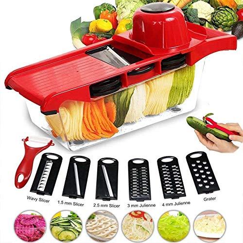 Multiusos Cortador de Verduras 7 en 1 Mandolina de Cocina, Slicer de Cocina Ralladores y Cortadores Manuales, Inoxidable Utensilios de Cocina Profesional para Cortar Frutas/Verduras