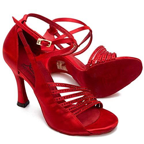 Manuel Reina - Zapatos de Baile Latino Mujer Salsa Flex 7 Red - Bailar Bachata, Salsa, Kizomba (41 EU, Tacón: 7.5)