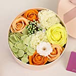 round soap gift box for flowers floral scented bath soap carnation mauve rose soap natural preserved rose artificial flowers flower petals for valentine's day birthday wedding mother's day (orange)