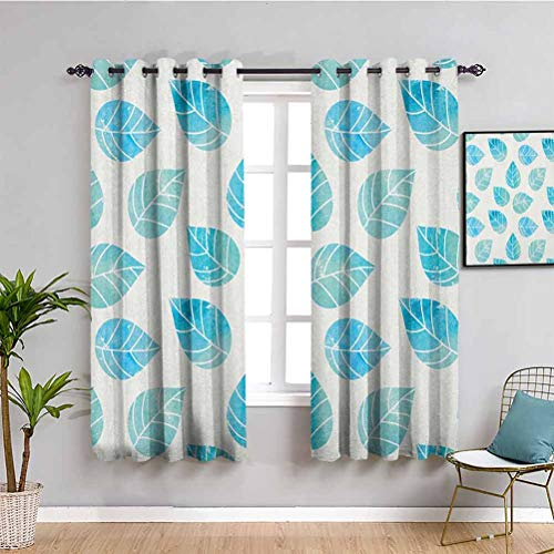 SONGDAYONE Watercolor Outdoor curtain, Curtains 63 inch length Fallen Forest Tree Leaves with Spring Inspired Color Scheme Deciduous Life Theme Daily use Aqua White W55 x L63 Inch