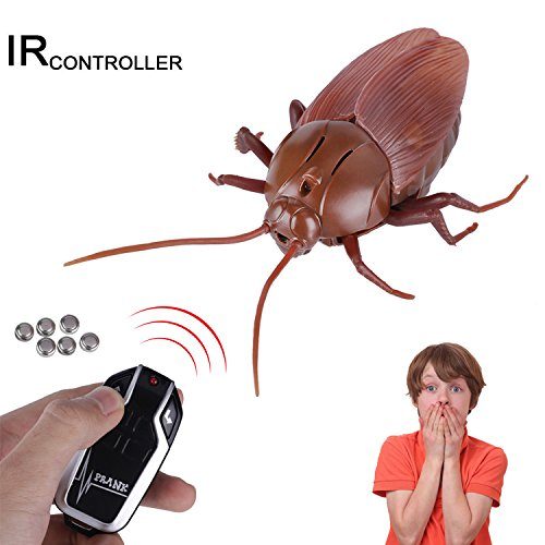 Giveme5 Upgraded RC Cockroach Toy, Infrared Remote Control Mock Fake Giant Cockroach RC Toy Model Prank Insects Joke Scary Trick Bugs for Party