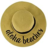 C.C Fun Verbiage Elegant Wide Brim 4\ Summer Derby Beach Pool Floppy Dress Sun Hat Natural (Aloha Beaches)