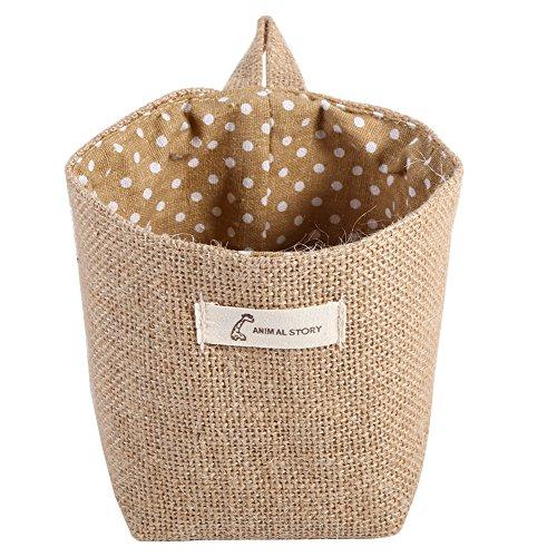 Fdit Cesta de lino de algodón para colgar ropa, bolsa de almacenamiento para el hogar, organizador de almacenamiento plegable (puntos khaki)