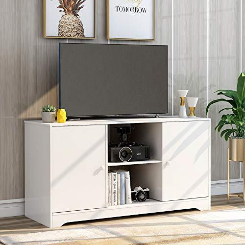 MOWIN TV-Schrankständer Lowboard Couchtisch Fernsehschrank Fernsehtisch Sofatisch TV Tisch Möbel Board Sideboard mit offene Fächer, 2 Lagerschränken (White)
