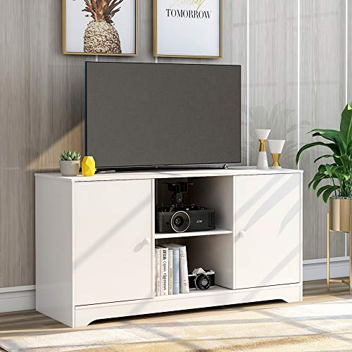 Merax TV Stand TV Cabinet with Open Storage Shelves & 2 Storage Cabinets,Media Console Table for Home Living Room Bedroom (White)