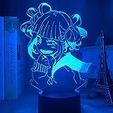 Lámpara de ilusión 3D 7 colores cambiantes Himiko Toga lámpara My Hero Academia Anime Luz de noche LED para decoración de dormitorio, regalo de , cambio de color