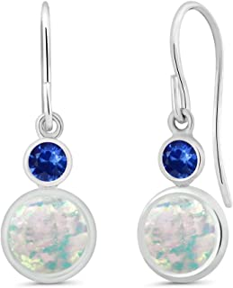 1.56 Ct Round Cabochon White Simulated Opal Blue Sapphire 925 Sterling Silver Earrings