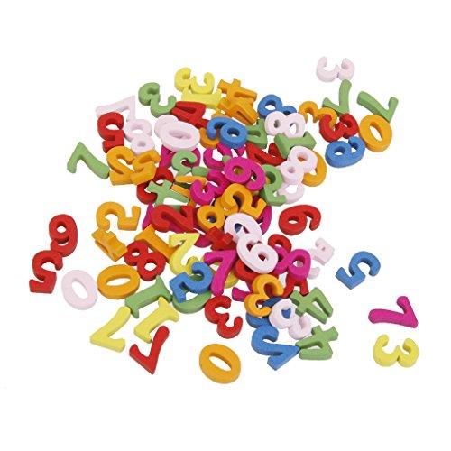 100x Holzbuchstaben / Holzzahlen Buchstaben-Alphabet Bastelzahlen - #3