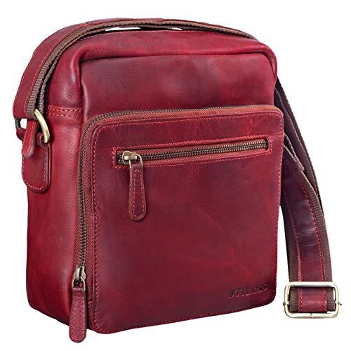 STILORD 'Nathan' Borsello da Uomo a tracolla in pelle Piccola borsa messenger in Cuoio a Spalla per Viaggi Escursioni, Colore:rosso