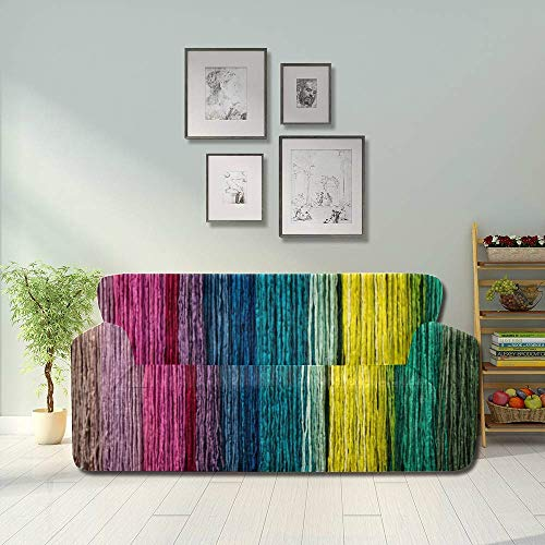 JOCHUAN Cord Rope Fiber Close Up Colorful Chair Slipcover Stretch Covered Couch Fitted Furniture Protector 2&3 Seat Sofas