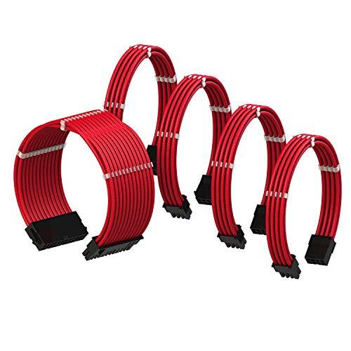 LINKUP - Cable con Manguito - Prolongación de Cable para Fuente de Alimentación con Kit de Alineadores┃1x 24P (20+4) MB┃2X 8P (4+4) CPU┃2X 8P (6+2) GPU┃30CM 300MM - Rojo