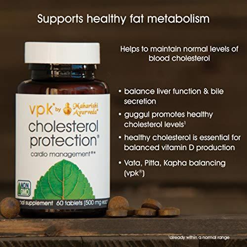Cholesterol Protection | 60 Herbal Tablets - 500 mg ea. | Powerful Formula with Guggul | Natural Herbal Supplement to Support Healthy Blood Cholesterol and Fat Metabolism