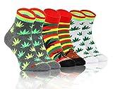 Sesto Senso Calcetines Casuales Gracioso Corto Vistoso Hombre Mujer Pack de 3 Rasta Rastaman 39-42 3 Hojas de Marihuana