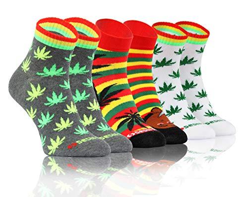 Sesto Senso Lustige Bunte Kurze Socken 3 Pack Süße Sneakersocken Baumwolle Rastaman 35-38 3 Blätter Marihuana