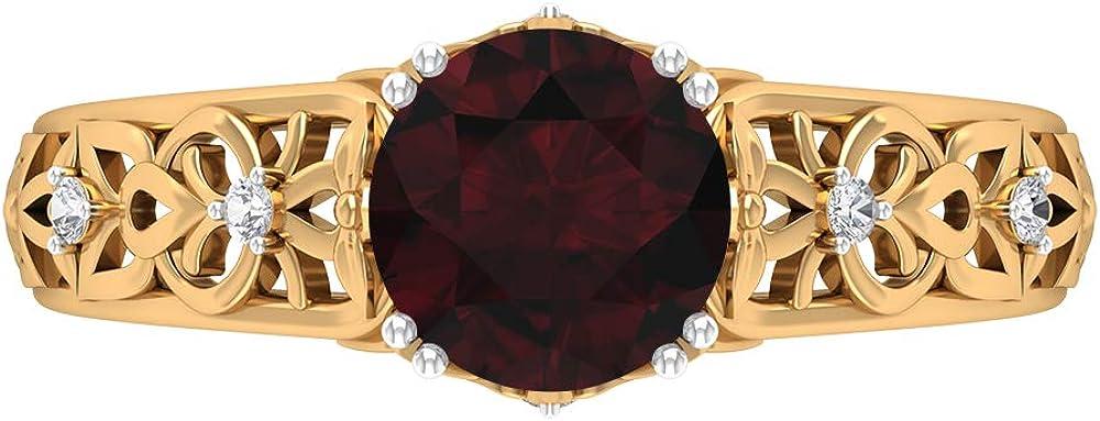 1.51 CT Solitaire Garnet Ring, D-VSSI Moissanite Wedding Ring, 7 MM Round Cut Engagement Ring, Gold Filigree Ring, 14K Gold