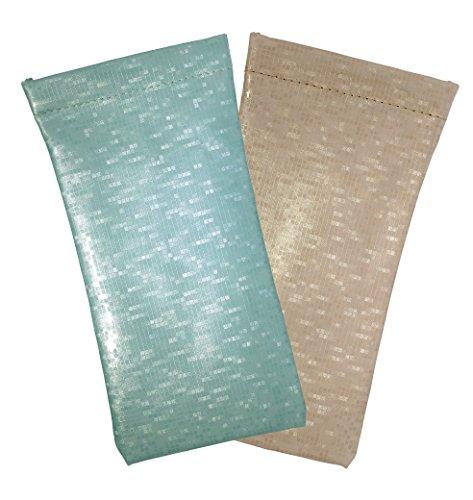 2 Pack Glossy Pixels Spring Top Eyeglass Case For Men & Women, Seafoam Green/Champagne