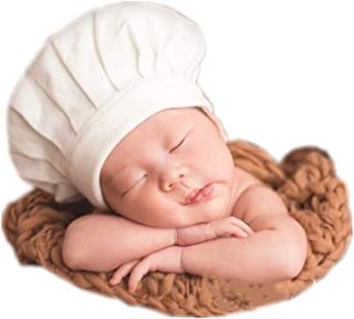 Newborn Baby Infant Photography Props Boys Girls Chef Style Hat White