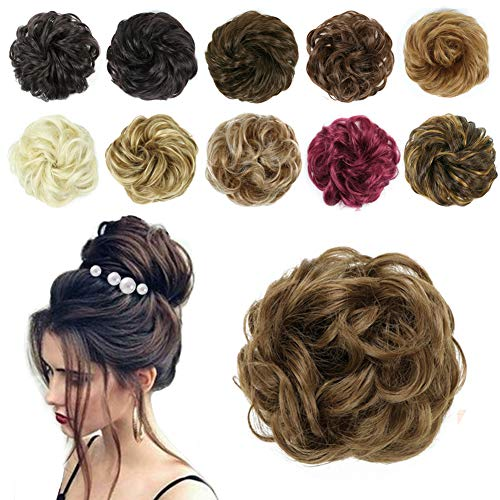 Messy Hair Bun Extension Curly Wavy Messy Synthetic Chignon Hairpiece Scrunchies Updo Wig Stronger Elastic Hairpiece for Women Girls, Hair Accessory Wedding Party Dance 23 Colors