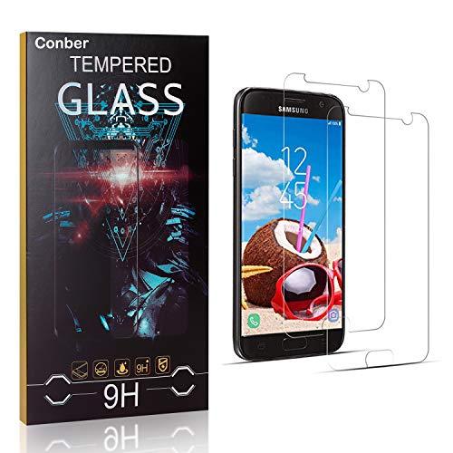 Conber [2 Stück] Displayschutzfolie kompatibel mit Samsung Galaxy S7, Panzerglas Schutzfolie für Samsung Galaxy S7 [9H Härte][Hüllenfreundlich]