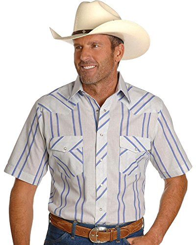 Wrangler Men's Assorted Classic Short Sleeve Western Shirts Big and Tall Stripe Large Tall