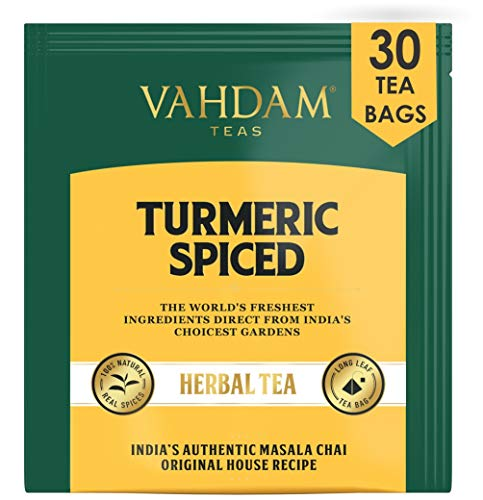 VAHDAM, Turmeric Spiced Herbal Tea (30 Tea Bags) | SOFI AWARD WINNER | Immune Support | Blend of Turmeric Powder & Fresh Spices | Turmeric Tea for Weight Loss | Natural Turmeric | Immunity Tea