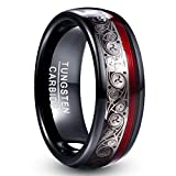 VAKKI 8mm Celtic Spiral Tungsten Carbide Rings Domed Engagement Band with Red Guitar String Size 10