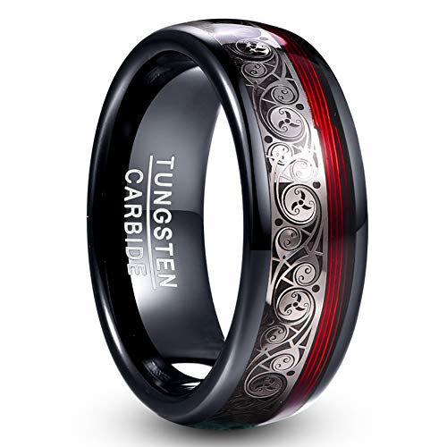 VAKKI Celtic Spiral and Red Guitar String Tungsten Rings 8mm Black Dome Wedding Band Size 9