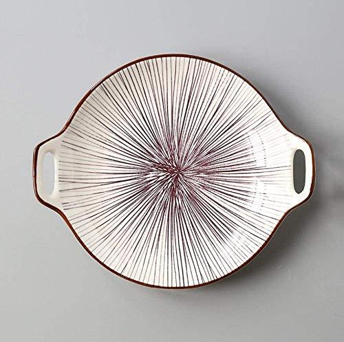 YNHNI Juego de platos de cena con doble oreja, placa de cerámica, esmalte de color simple para el hogar de 9 pulgadas, platos de servir vajilla para suministros de cocina, repetible