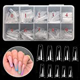 Vastitude Fake Nail Coffin Shape Long 500PCS Clear Tips for Acrylic Nails Stiletto
