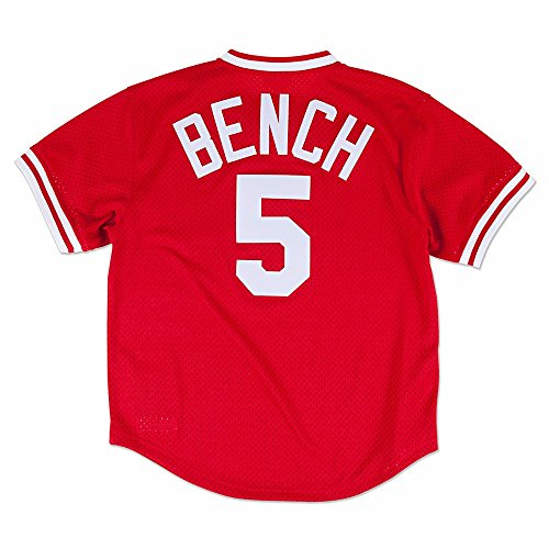 Johnny Bench Red Cincinnati Reds Authentic Mesh Batting Practice Jersey Large (44)