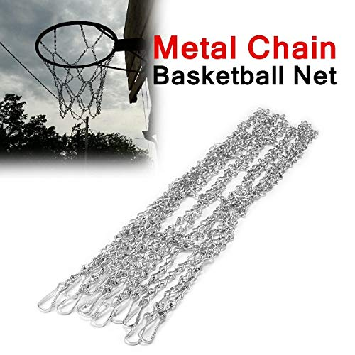Chonpy Basketball-Metallketten-Net-Zink-Stahl 12 Loops Silber Rust-Proof Design Standard Fit for Hoops einfache Befestigung Heavy- basketballkorb